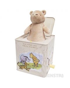 A classic Pooh bear plushie will jump out of the jack-in-the-box to surprise and delight little ones.