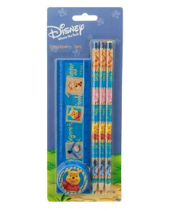 Colour and draw your favorite characters and stories from A. A. Milne adventures with Eeyore, Pooh, Piglet and Tigger using the three pencils, a ruler and sharpener from this stationery set.