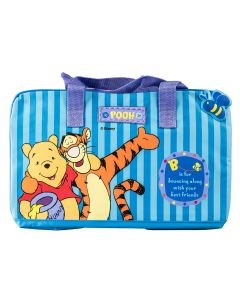 'B is for bouncing along with your best friends.' Fun design featuring Tigger and Pooh on a striped travel bag.