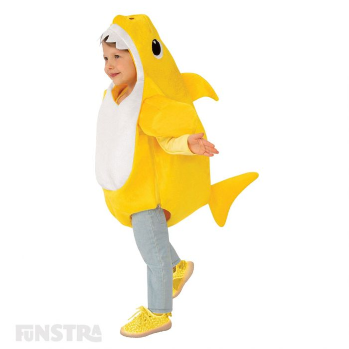 Dress up as Baby Shark with this yellow plush romper with fins of the Baby Shark character, that features a sound chip within the costume that plays the famous Baby Shark song.