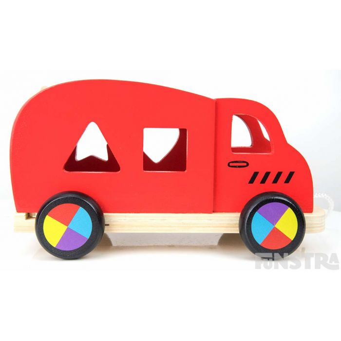 Bright and colorful wheels will turn as children pull along the big red car toy.