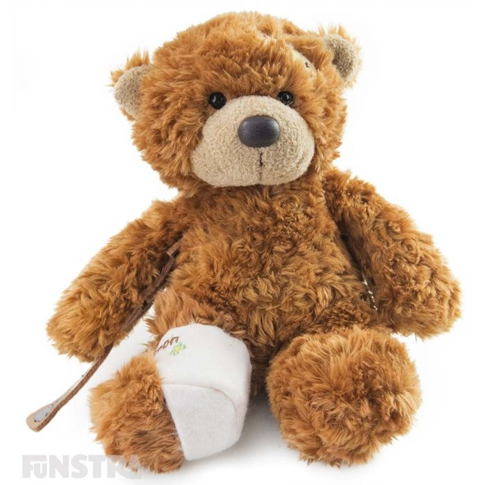 A cute and cuddly patient with a fracture, and features a cast on his sore leg and crutches for this injured brown bear.