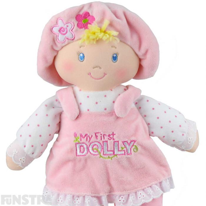 Beautiful detail with 'My First Dolly' embroidered on dolly's pink pinafore and flowers on her hat and pants.