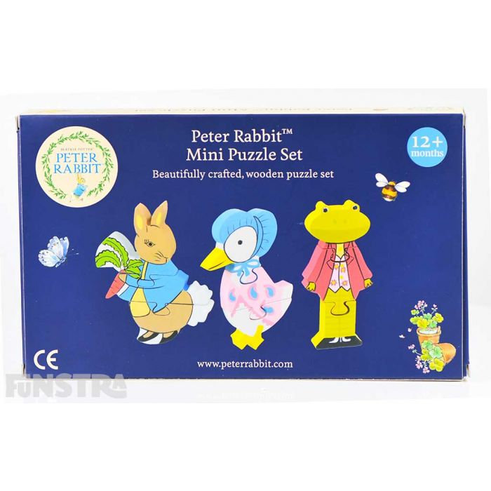 Beautifully crafted, wooden puzzle set comes presented in a gift box, perfect for anyone that loves Beatrix Potter and the tales of Peter Rabbit, Mr. Jeremy Fisher and Jemima Puddle-Duck.