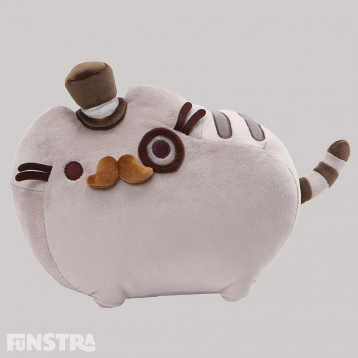 Pusheen is dashing and dapper, dressed to impress and fancy, complete with top hat, monocle and moustache. The famous cat in popular culture is brimming with softness and personality with this stuffed animal from the GUND plush collection.