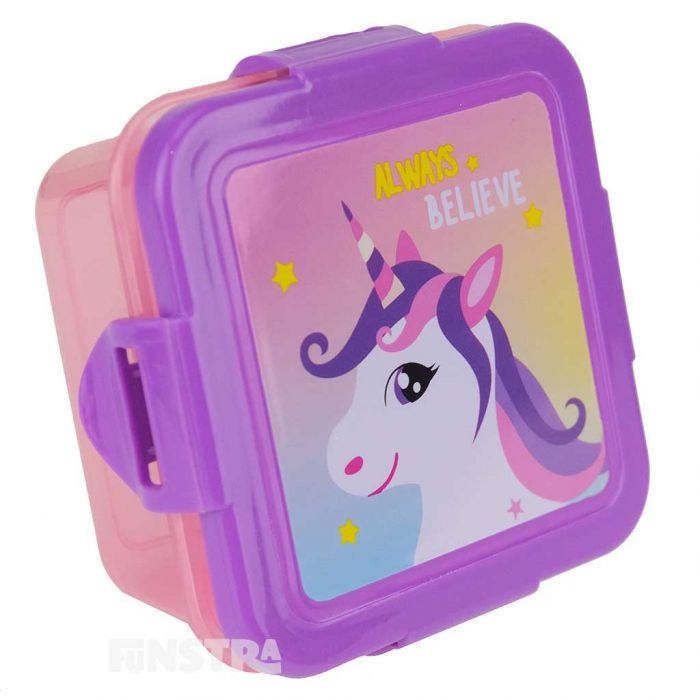 Snack box is pink with a purple lid that showcases a magical design