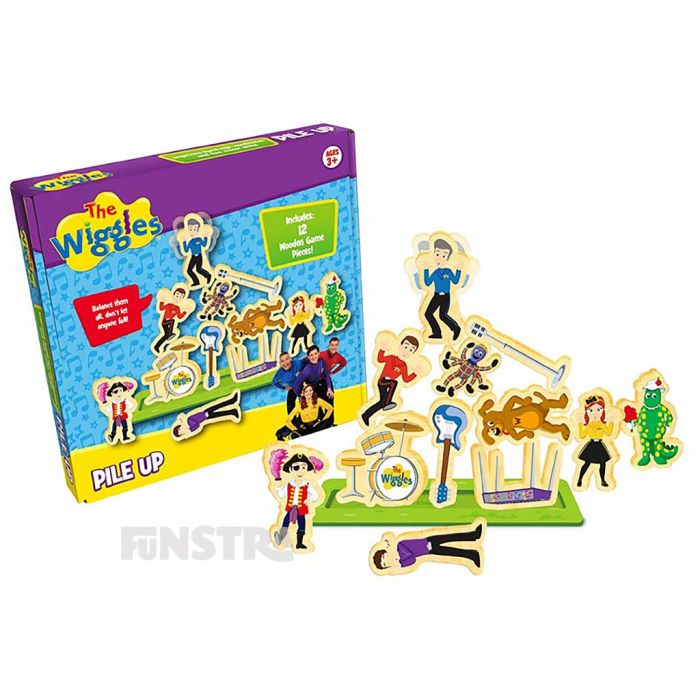 The game of Pile Up includes 12 beautifully designed wooden playing pieces, a game board and rules.