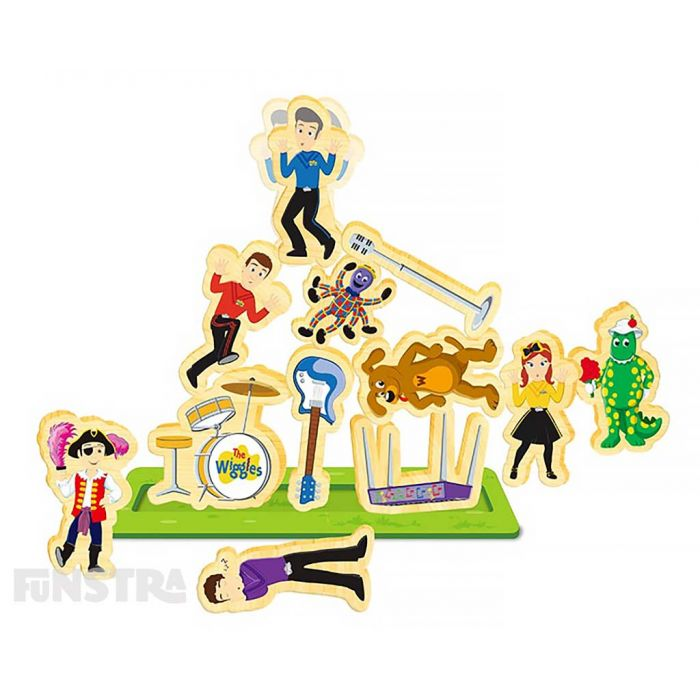 Wooden playing pieces consist of Emma, Lachy, Simon, Anthony, Wags the Dog, Dorothy the Dinosaur, Captain Feathersword, Henry the Octopus, a microphone, drums set, guitar and keyboard.