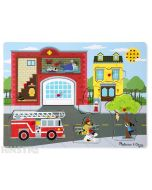 Hear the sounds from around the firestation with this fun sound jigsaw puzzle from Melissa & Doug, featuring fire engine siren, water from a fire hydrant and fire burning sounds.