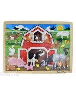 Learn and play with the Melissa & Doug puzzle featuring a fun scene of animals with a cow, horse, sheep, goat, dog, cat, pig, chicken and more.