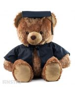 A big congratulations from a big bear, Braxton wears the black academic graduation hat and robe and is sure to put a big smile on your student's face.