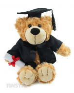 Buddy is a stylish bear and is perfect to celebrate the graduation of those dear to you. Wearing a black graduate cap and gown, Buddy bear proudly holds his graduate certificate.