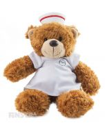 Wearing a nurse uniform, complete with scrubs, cap and nursing watch, this little bear is sure to cheer up your patient.