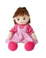 Caroline is an adorable rag doll with a soft cloth body and brown hair and wears a pink pinafore dress and loves watching cartoons and playing dress-ups.