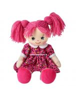 Claire is a funky rag doll with a soft cloth body and pink hair and wears a pink leopard dress and loves to eat ice cream and play soccer.