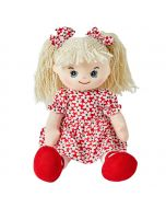 Elsie is a sweet rag doll with a soft cloth body with style and wears a floral red and white dress with matching bows in her curly blonde hair with red shoes.