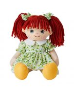 Willow is a super sweet rag doll with a soft cloth body and red hair tied in pigtails with bows and wears a green floral dress and loves to play in the garden and go camping.