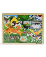 Learn and play with the Melissa & Doug puzzle featuring a playful scene of dogs, cats, a goldfish, snake, turtle, parrot, cockateil and more.