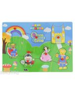 Big Ted, Little Ted, Humpty Dumpty and Jemima feature on this 'Once upon a time' storybook wooden Play School pin puzzle, great for problem solving and storytelling.