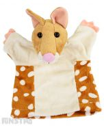 Soft and cuddly quoll hand puppet with brown, beige and cream plush.