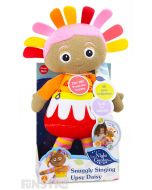 Snuggle and cuddle with Upsy Daisy doll dressed up in her red, yellow, pink and orange costume and matching hair.