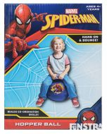 Hang on and bounce around with the web crawler superhero, Spiderman, on this blue web slinger hop ball.