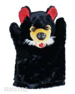 Soft and cuddly Tasmanian devil hand puppet with brown fur.