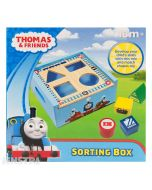 Learn colors and shapes with the Thomas the Tank Engine wooden shape sorting toy box featuring red, blue, green and yellow building blocks in the shape of a circle, square, triangle and rectangle.