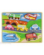 Toddlers can learn and play with this wooden puzzle design that features transport vehicles with a train, airplane, car, school bus, police car, boat and fire engine.