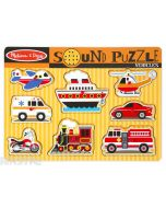 Hear the sounds of vehicles with this fun sound jigsaw puzzle from Melissa & Doug, featuring a plane, ship, helicopter, ambulance, car, fire engine, train and motorcycle.