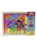 Four puzzles feature Emma, Lachy, Anthony and Simon in the Wiggles show, big red plane, outer space and having fun in the outdoors riding a bike, skateboard, roller skates and scooter, and come packed in a wooden box to assemble and frame the puzzle.