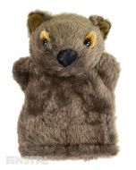 Soft and cuddly wombat hand puppet with brown fur.