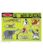Hear the sounds of zoo animals with this fun sound jigsaw puzzle from Melissa & Doug, featuring a alligator, monkey, elephant, penguin, lion, zebra, parrot and snake.